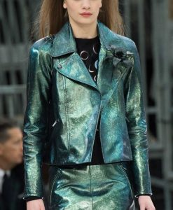 Lily Collins Emily In Paris Emily Copper Green Metallic Motorcycle Jacket
