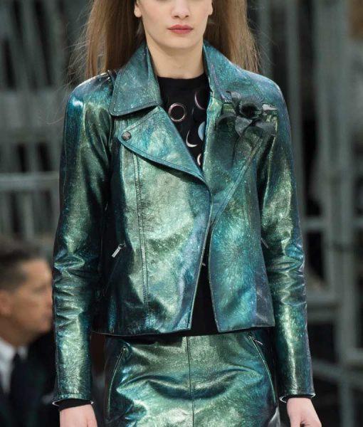 Emily In Paris Emily Copper Green Metallic Moto Jacket