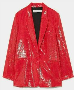 Emily In Paris Lily Collins Red Sequin Blazer