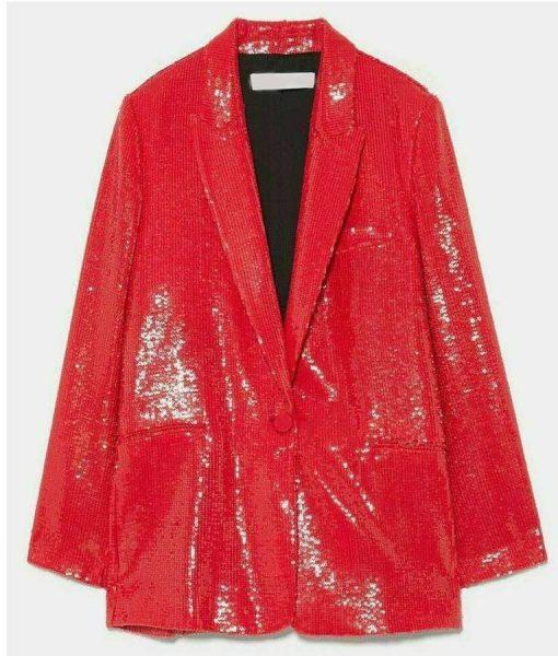 Emily In ParisEmily Copper Red Sequin Blazer