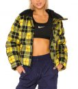 Lily Collins Puffer Style Emily Yellow Plaid Jacket On Emily In Paris