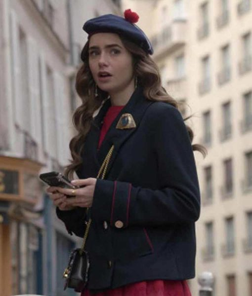 Emily In Paris Lily Collins Blue Peacoat