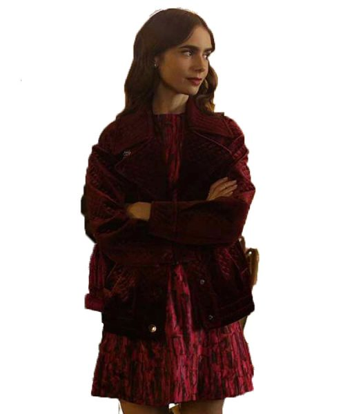 Emily-In-Paris-Lily-Collins-Velvet-Jacket