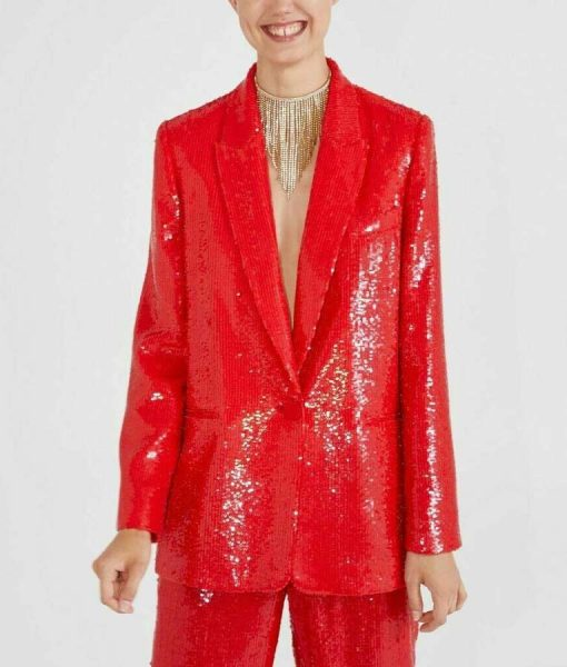 Emily In ParisLily Collins Red Sequin Blazer