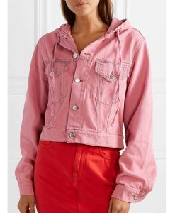 Emily In Paris Lily Collins Pink Denim Jacket With hood