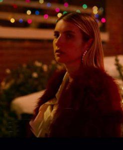 Emma Roberts Holidate Sloane Red Fur Coat
