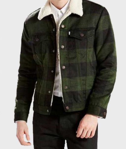 Fred Andrews Riverdale Luke Perry Green Plaid Sherpa Jacket