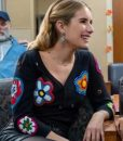 Emma Roberts Holidate Sloane Black Floral Patch Cardigan