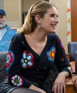 Emma Roberts Holidate Sloane Black Floral Patch Cardigan