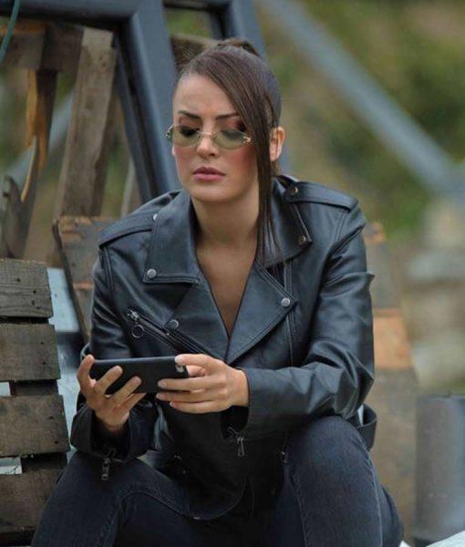 Irem Sak Black MotorcycleÇukur S04 Seren Erdenet Leather Jacket