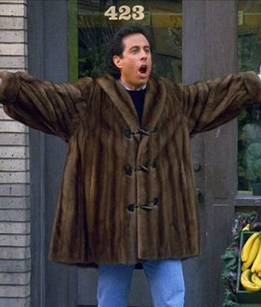 Jerry Seinfeld Brown Faux Fur Coat