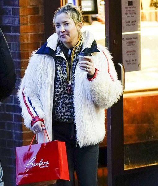 Kate Hudson White Fur Hooded Jacket With Red and Blue Stripes