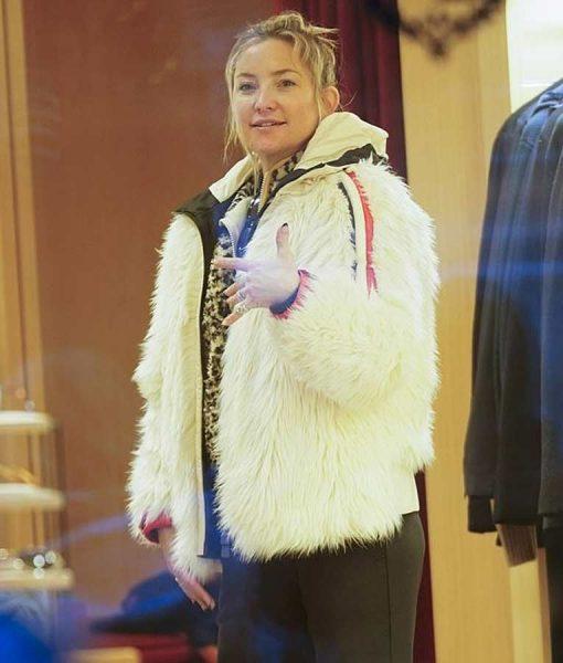 Kate Hudson White Fur Jacket With Hood