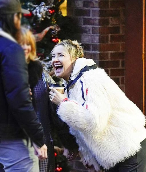 Kate Hudson White Fur Jacket With Red and Blue Stripes