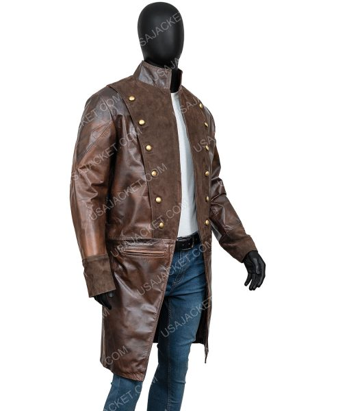 La Revolution Albert Guillotin Lionel Erdogan Brown Leather Coat