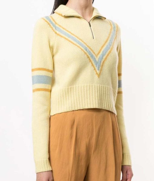 Lili Reinhart Yellow Stripe Half ZipRiverdale S04 Betty Cooper Cropped Sweater