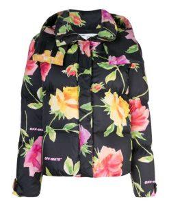 Emily Black Floral Puffer Jacket