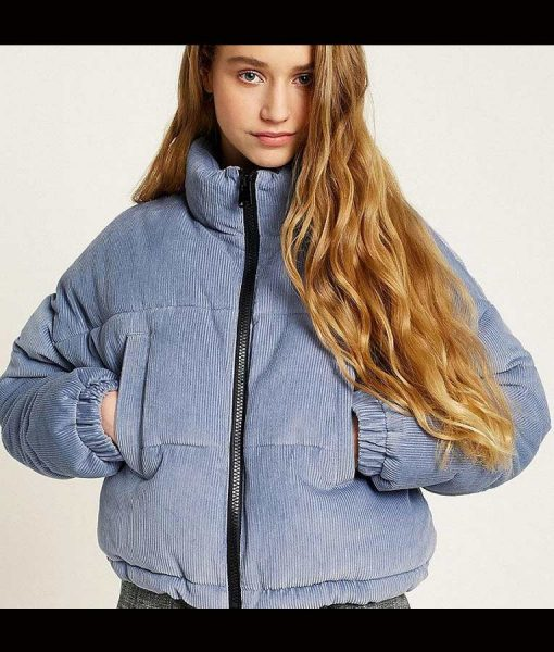 Lola Blackman Grand Army Rachel Finer Light Blue Corduroy Puffer Jacket
