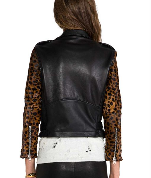 Pretty Little Liars Lucy Hale Cheetah Sleeves Black Leather Jacket