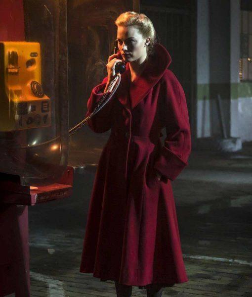 Margot Robbie Terminal Annie Red Wool-blend Trench Coat