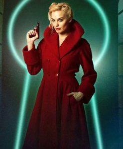 Margot Robbie Terminal Annie Red Trench Coat