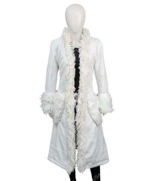 Mindy Chen Emily In Paris Ashley Park White Fur Long Coat