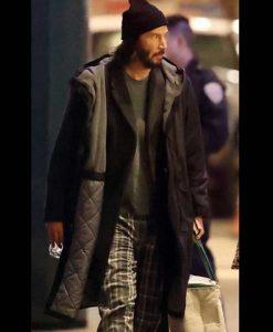 The Matrix 4 Keanu Reeves Black Hooded Coat