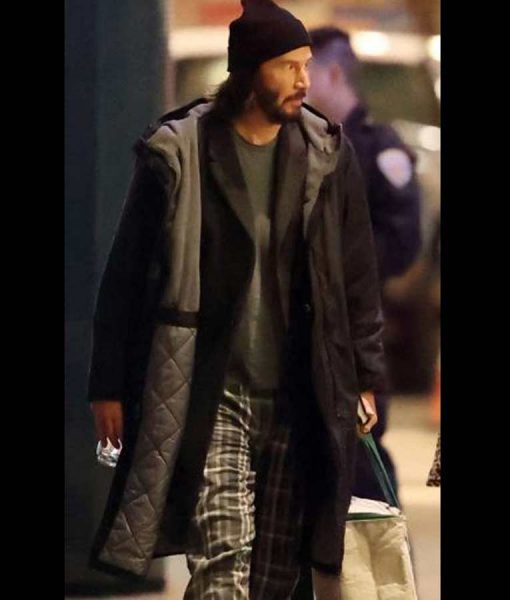Neo The Matrix 4 Keanu Reeves Black Hooded Trench Coat