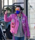 Nicolas Cage Pink Leather Jacket With Patches
