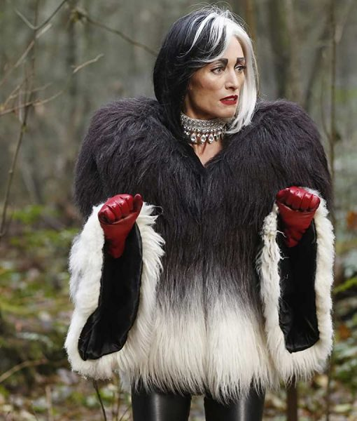 Once Upon a Time Cruella Deville Faux Fur Jacket