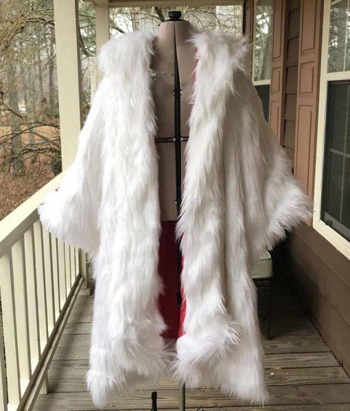 Once Upon a Time Cruella Deville White Faux Fur Long Coat
