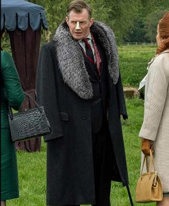 Pennyworth Season 02 Jason Flemyng Black Fur Collar Coat