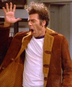 Michael Richards Seinfeld S09 Cosmo Kramer Jacket With Shearling Collar