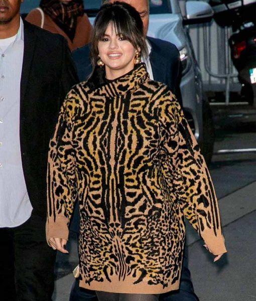 Selena Gomez Turtleneck Cheetah Print Woolen Sweater