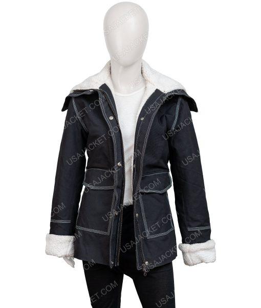 Sloane Holidate 2020 Black Jacket With Shearling Trim