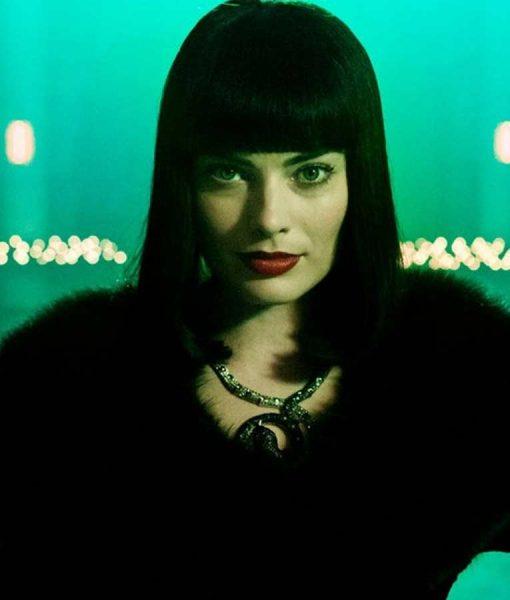 Terminal Margot Robbie Shearling Faux Fur Annie Black Coat