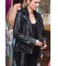 The 355 Jessica Chastain Leather Motorcycle Jacket