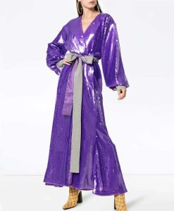 The Duchess Purple Sequin Wrap Gown