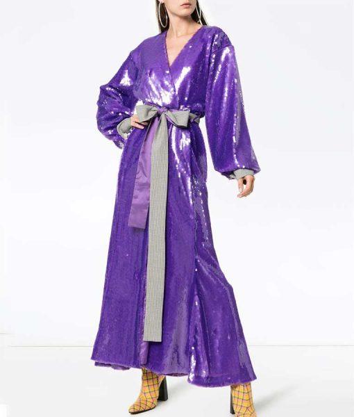 The Duchess Katherine Purple Sequin Maxi Robe Dress