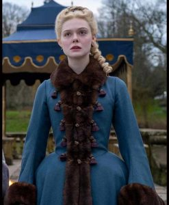 Catherine The Great Elle Fanning Blue Coat With Faux Fur Trim