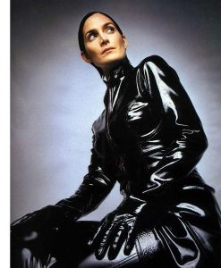 Carrie-Anne MossThe Matrix 4 Trinity Black Leather Trench Coat