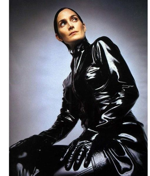 The Matrix 4 Carrie-Anne MossBlack Leather Trench Coat