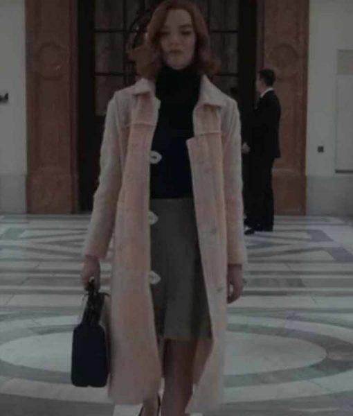 Beth Harmon The Queen's Gambit Anya Taylor-Joy Light Pink Coat