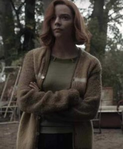 Anya Taylor Joy The Queen's Gambit Beth Harmon Brown Sweater