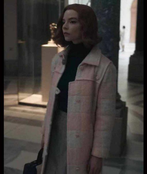 The Queen's Gambit Anya Taylor-Joy Light Pink Coat