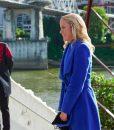 Jessy Schram A Nashville Christmas Carol Vivian Blue Trench Coat
