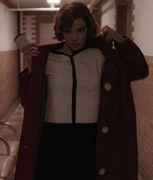 The Queens Gambit Beth Harmon Red Trench Coat