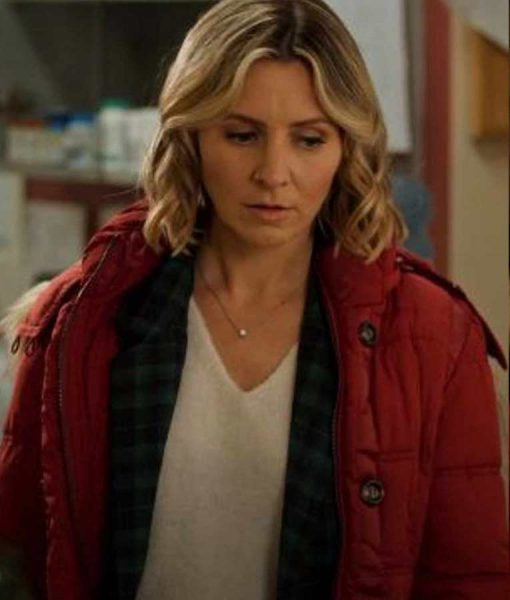 Beverley Mitchell Candy Cane Christmas Phoebe Saunders Red Coat