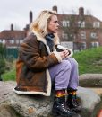Billie Piper I Hate Suzie Shearling Leather Jacket