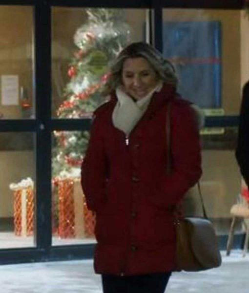 Beverley Mitchell Candy Cane Christmas Red Coat